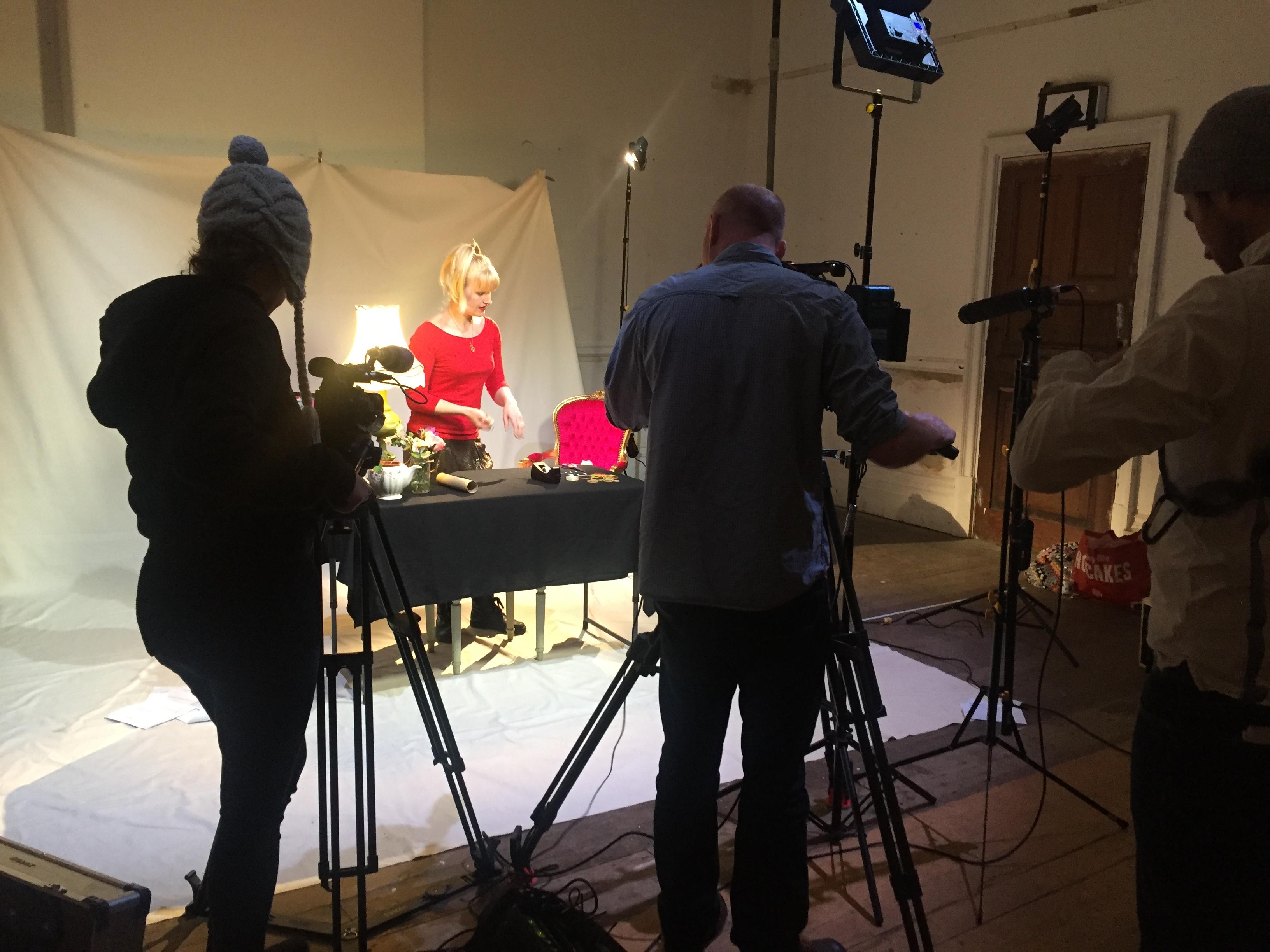 Amy on set