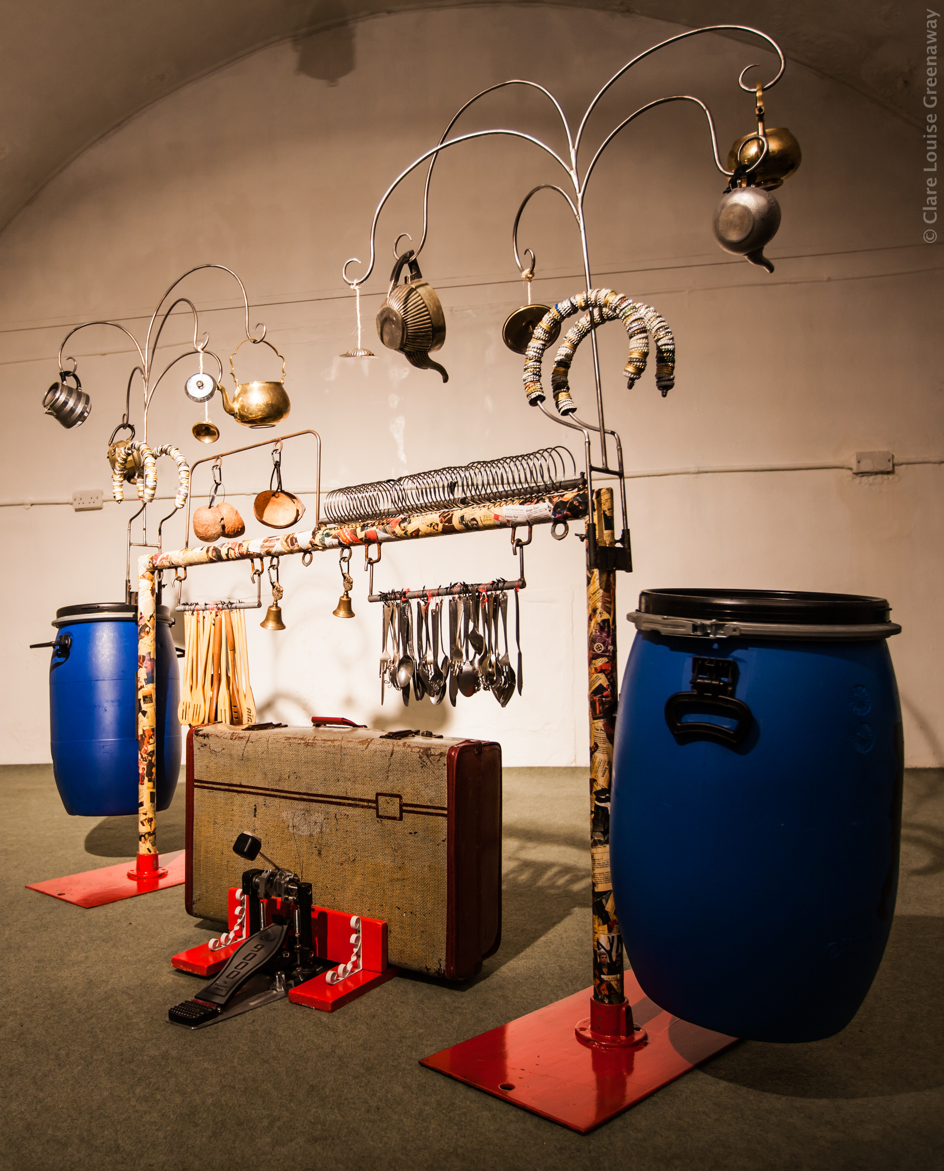 Rhythm Rig - The Rhythm Rig is complete with metal kettles, bottle top, coconuts, cutlery, wooden spoons and two big drums - it makes a huge range of sounds and so we find that this is where most of the grooves happen!